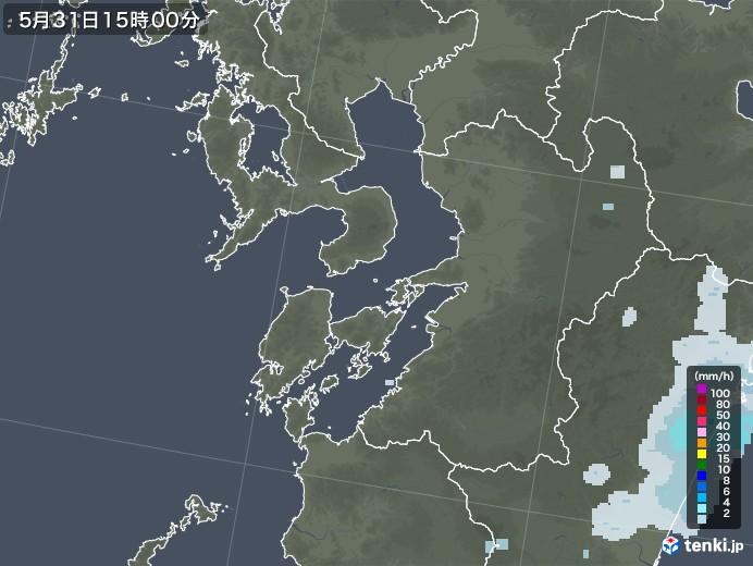 熊本県の雨雲レーダー(2020年05月31日)
