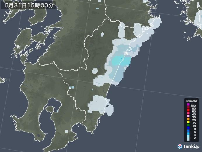 宮崎県の雨雲レーダー(2020年05月31日)