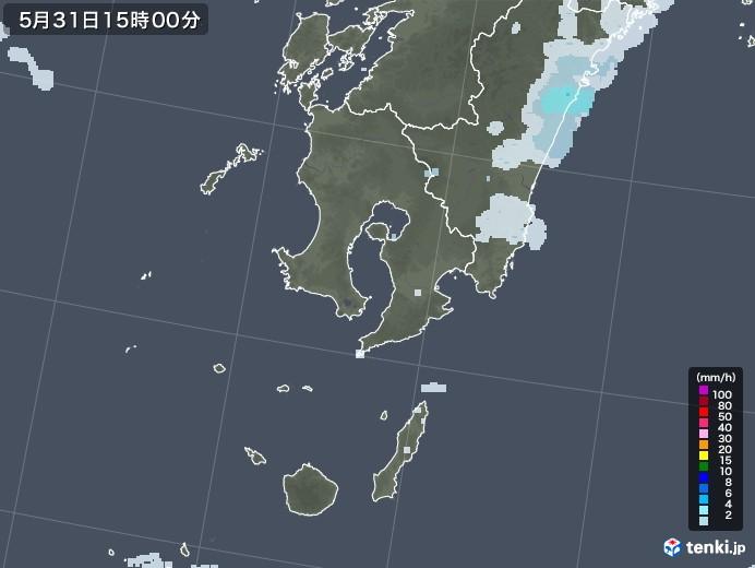 鹿児島県の雨雲レーダー(2020年05月31日)