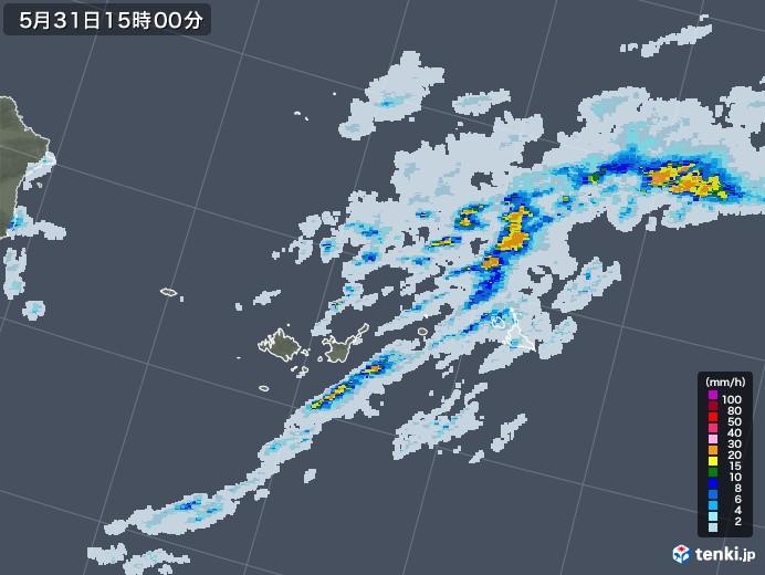 宮古島・石垣・与那国(沖縄県)の雨雲レーダー(2020年05月31日)