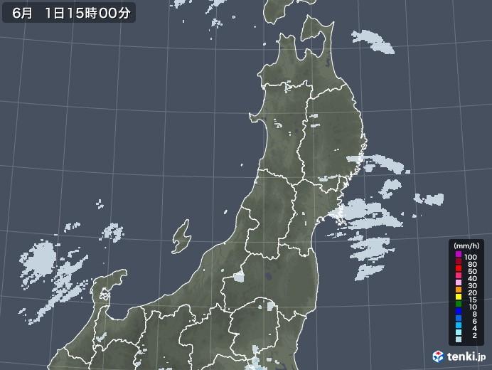 東北地方の雨雲レーダー(2020年06月01日)