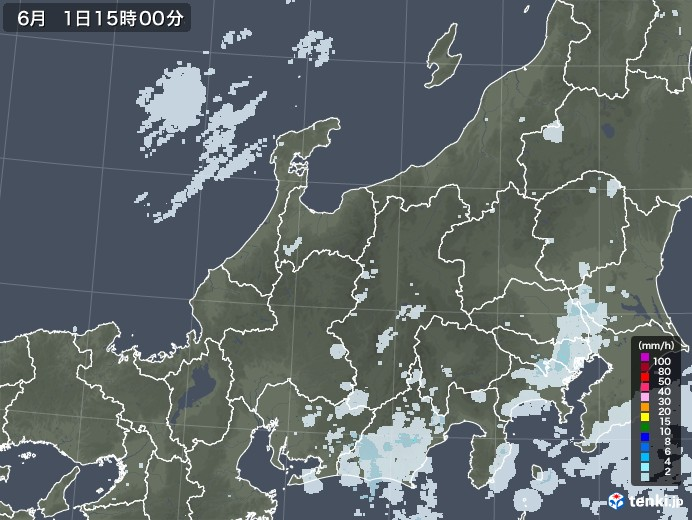 北陸地方の雨雲レーダー(2020年06月01日)