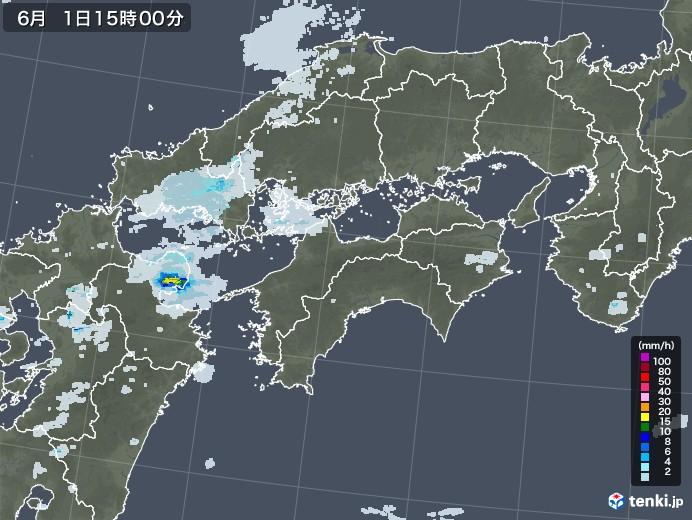 四国地方の雨雲レーダー(2020年06月01日)