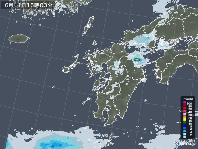 九州地方の雨雲レーダー(2020年06月01日)