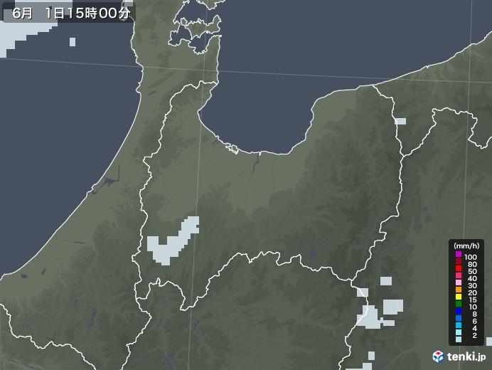 富山県の雨雲レーダー(2020年06月01日)