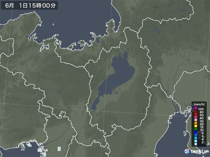 滋賀県の雨雲レーダー(2020年06月01日)