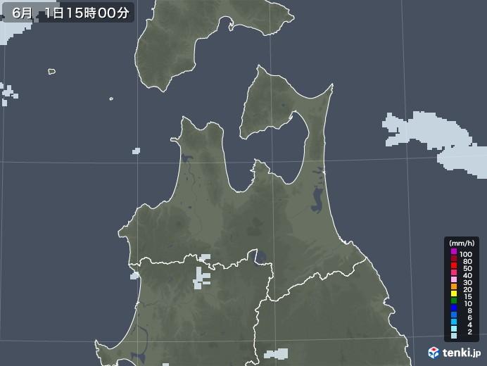 青森県の雨雲レーダー(2020年06月01日)