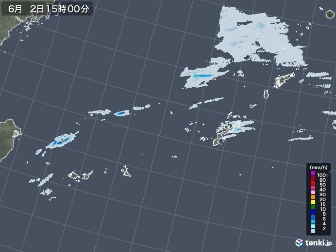 沖縄地方の雨雲レーダー(2020年06月02日)