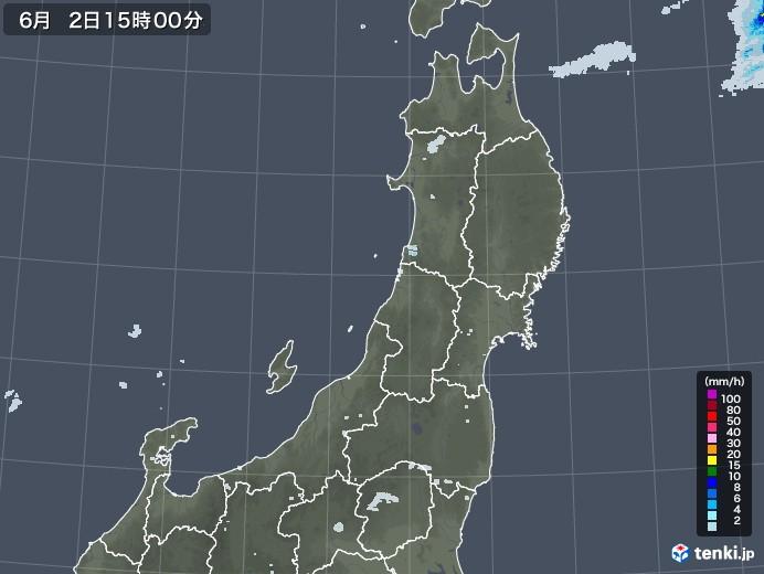 東北地方の雨雲レーダー(2020年06月02日)