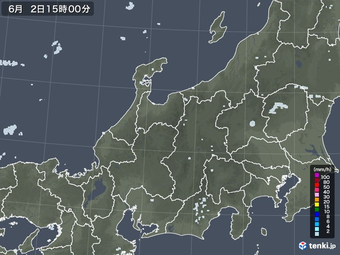 北陸地方の雨雲レーダー(2020年06月02日)