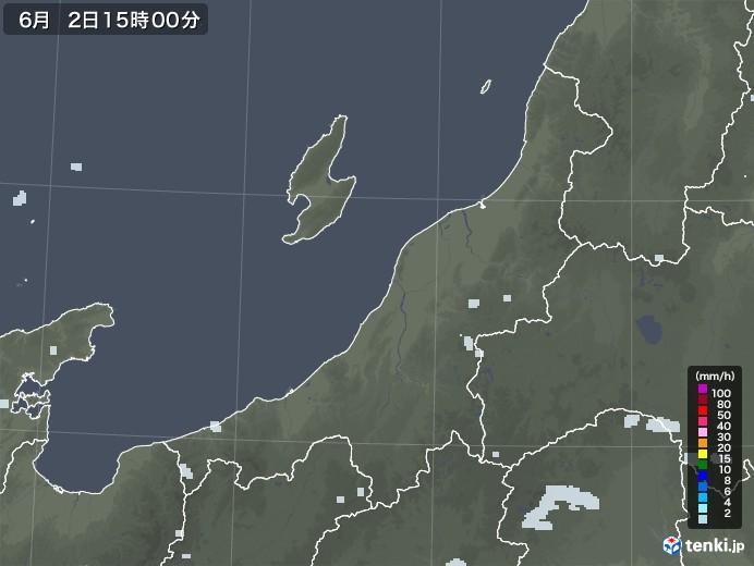 新潟県の雨雲レーダー(2020年06月02日)