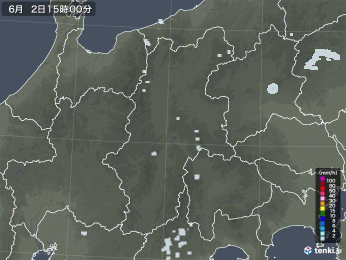 長野県の雨雲レーダー(2020年06月02日)