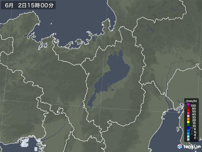 滋賀県の雨雲レーダー(2020年06月02日)