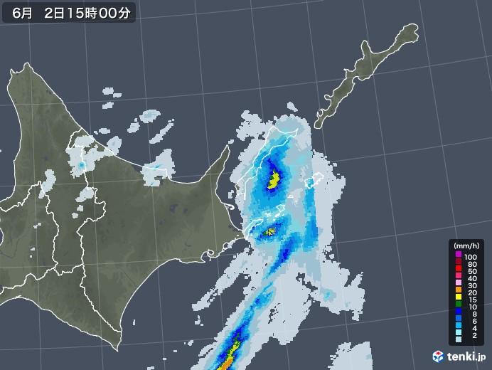 道東の雨雲レーダー(2020年06月02日)
