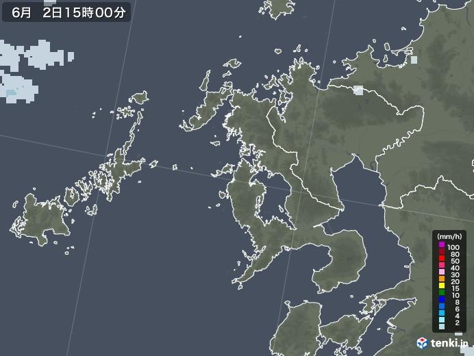 長崎県の雨雲レーダー(2020年06月02日)