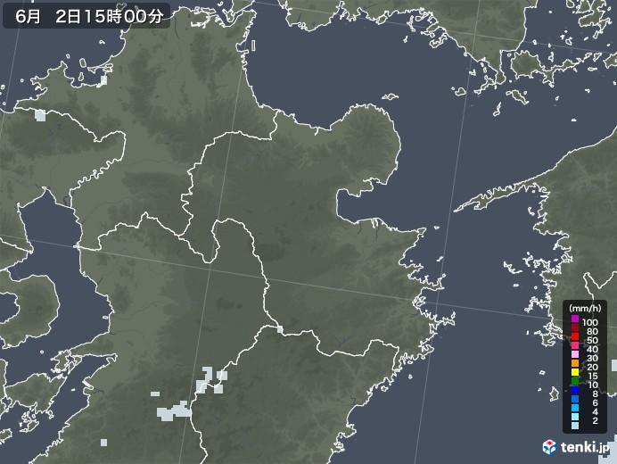 大分県の雨雲レーダー(2020年06月02日)