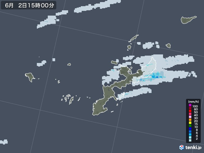 沖縄県の雨雲レーダー(2020年06月02日)