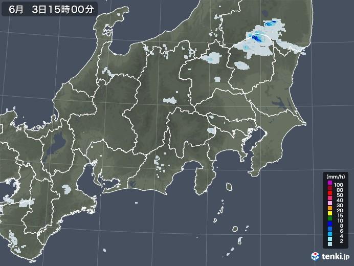 関東・甲信地方の雨雲レーダー(2020年06月03日)