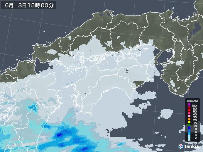 四国地方の雨雲レーダー(2020年06月03日)