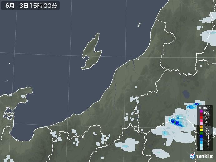 新潟県の雨雲レーダー(2020年06月03日)