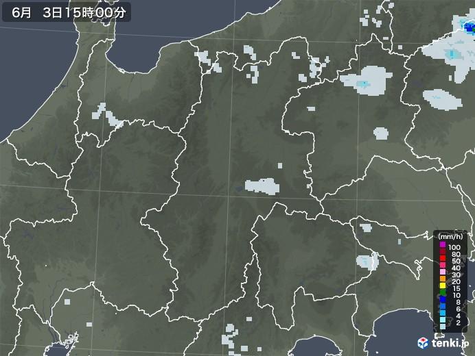 長野県の雨雲レーダー(2020年06月03日)
