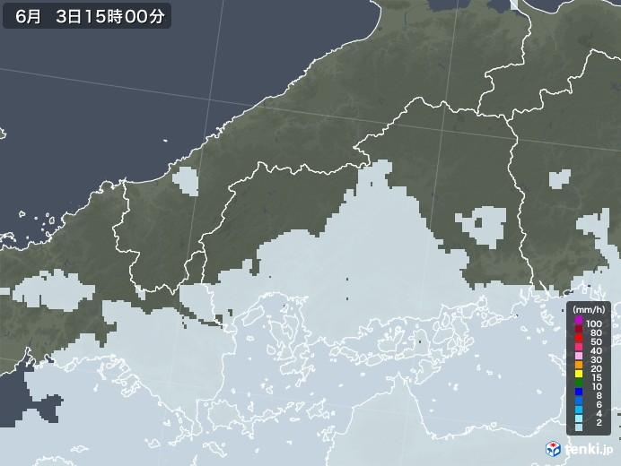 広島県の雨雲レーダー(2020年06月03日)