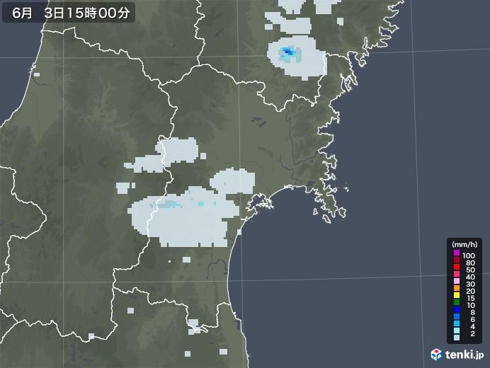 宮城県の雨雲レーダー(2020年06月03日)