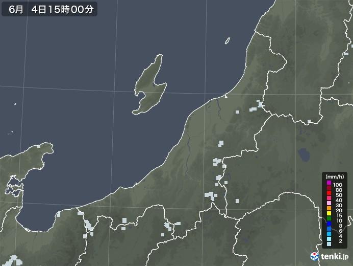 新潟県の雨雲レーダー(2020年06月04日)