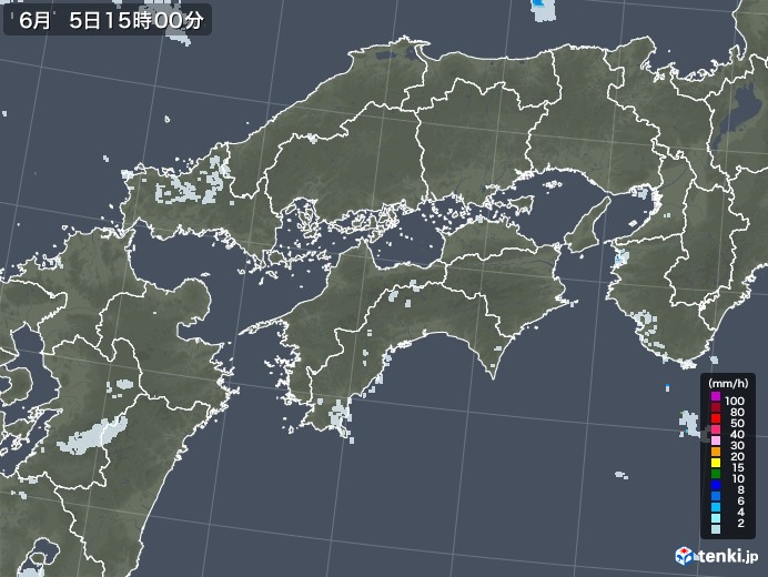 四国地方の雨雲レーダー(2020年06月05日)