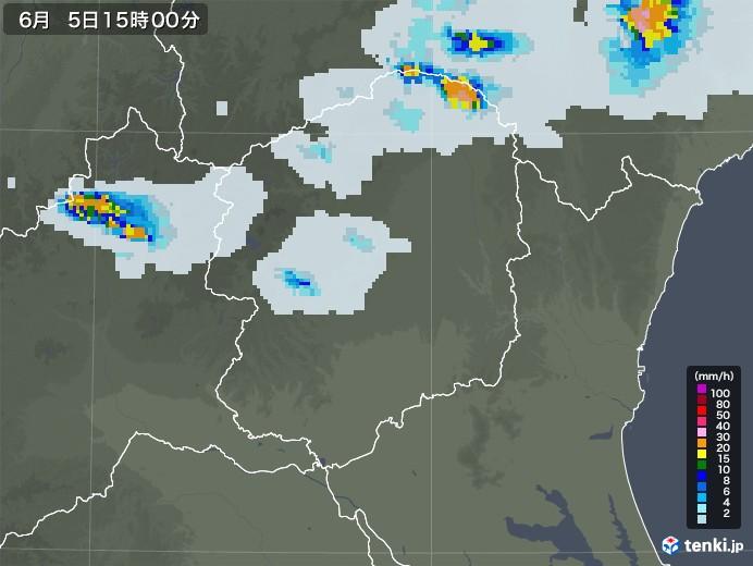 栃木県の雨雲レーダー(2020年06月05日)