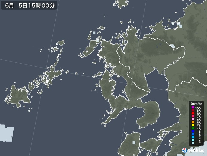 長崎県の雨雲レーダー(2020年06月05日)