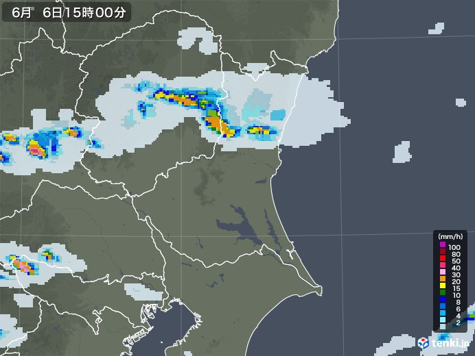 茨城県の雨雲レーダー(2020年06月06日)