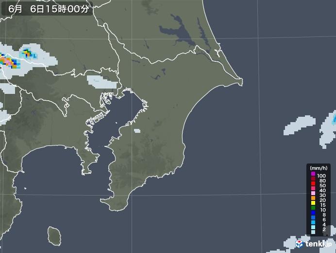 千葉県の雨雲レーダー(2020年06月06日)