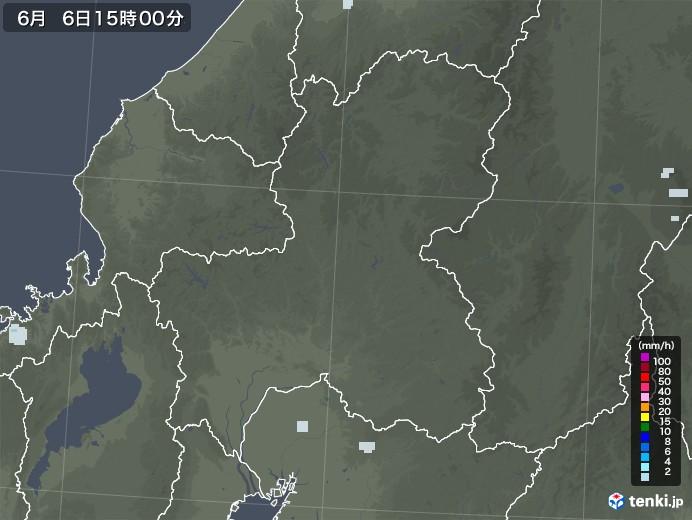 岐阜県の雨雲レーダー(2020年06月06日)