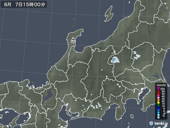 北陸地方の雨雲レーダー(2020年06月07日)