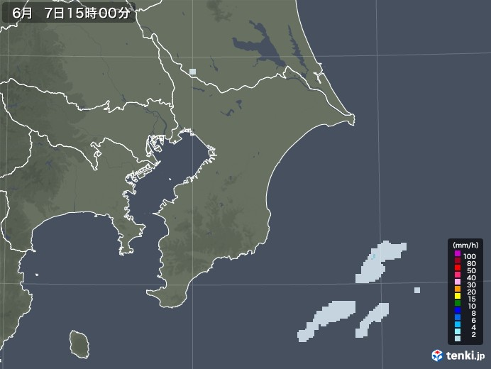 千葉県の雨雲レーダー(2020年06月07日)