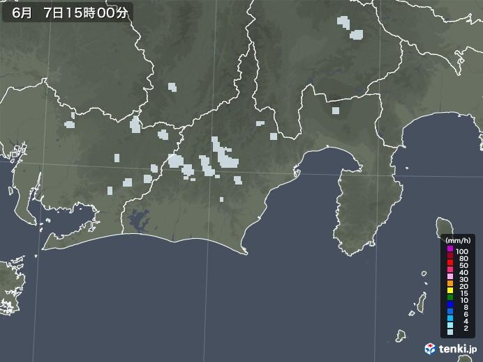 静岡県の雨雲レーダー(2020年06月07日)