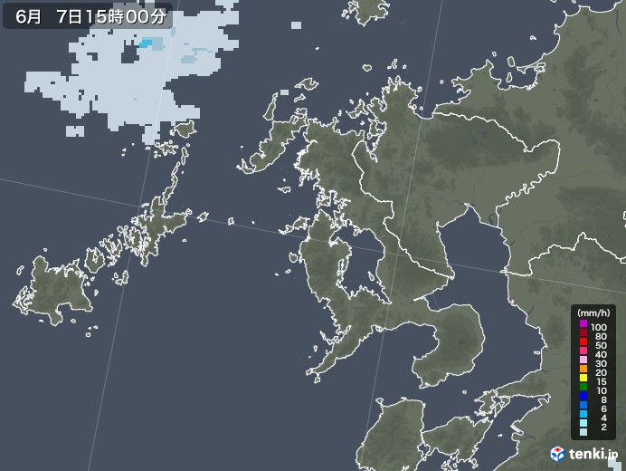 長崎県の雨雲レーダー(2020年06月07日)