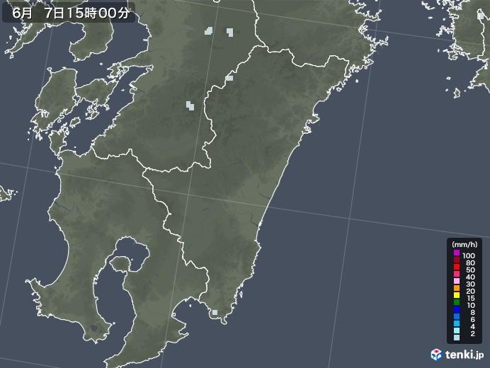 宮崎県の雨雲レーダー(2020年06月07日)