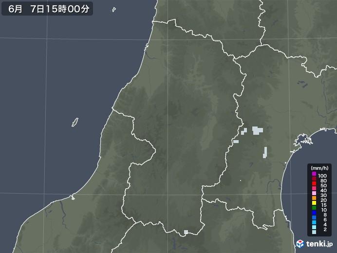 山形県の雨雲レーダー(2020年06月07日)