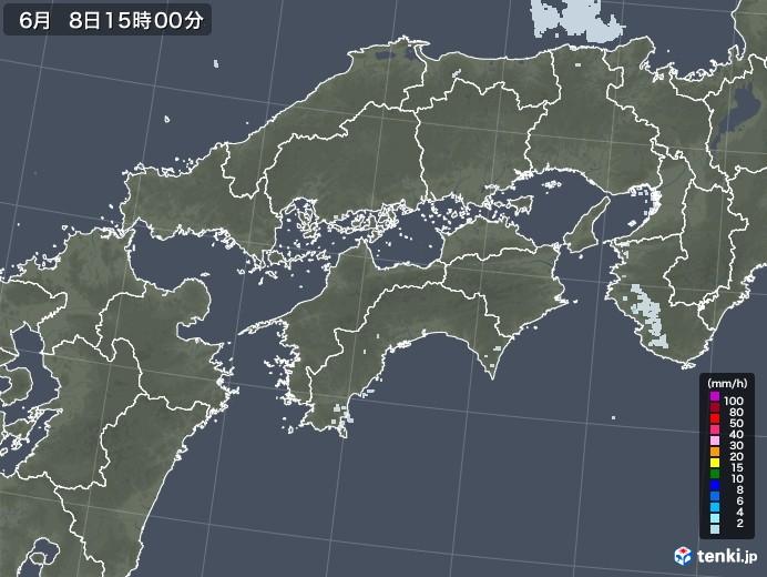 四国地方の雨雲レーダー(2020年06月08日)