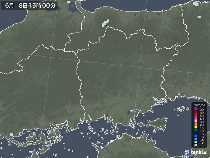 岡山県の雨雲レーダー(2020年06月08日)