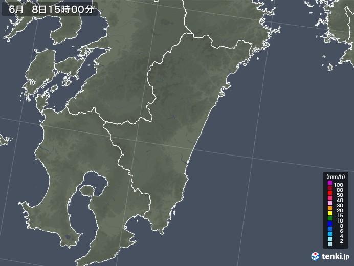 宮崎県の雨雲レーダー(2020年06月08日)
