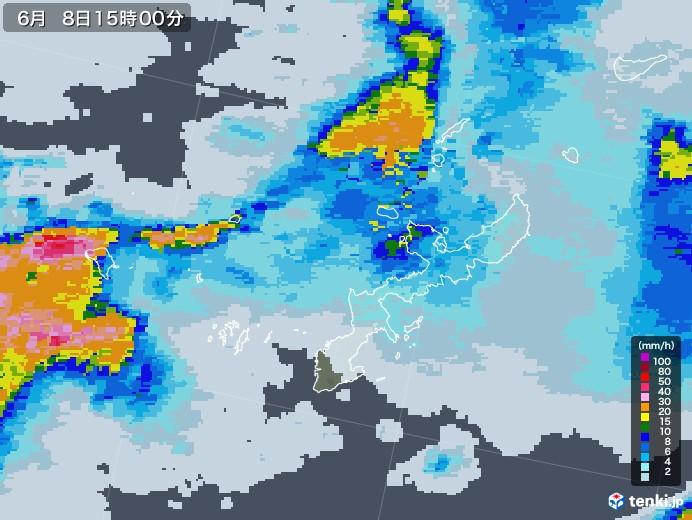 沖縄県の雨雲レーダー(2020年06月08日)