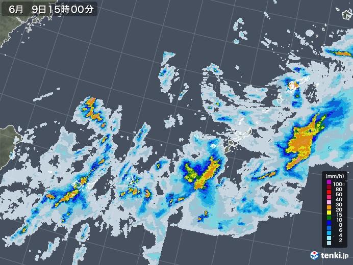 沖縄地方の雨雲レーダー(2020年06月09日)