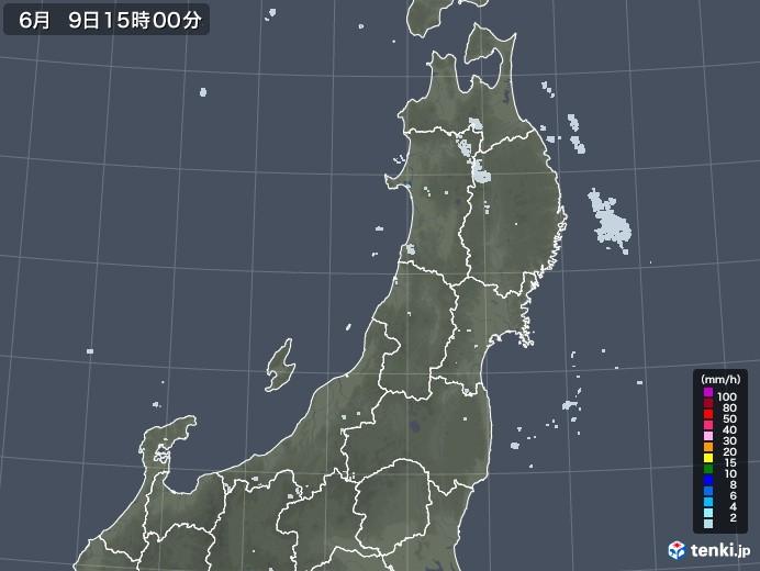 東北地方の雨雲レーダー(2020年06月09日)