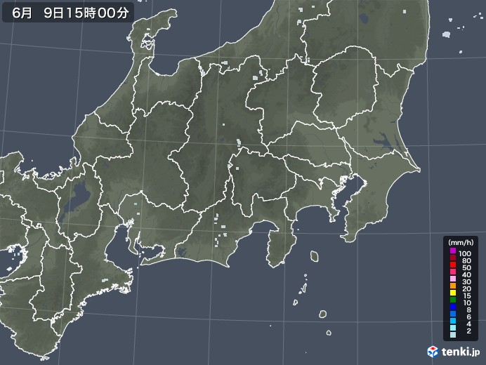 関東・甲信地方の雨雲レーダー(2020年06月09日)