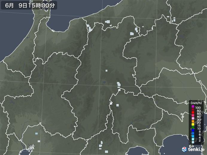 長野県の雨雲レーダー(2020年06月09日)