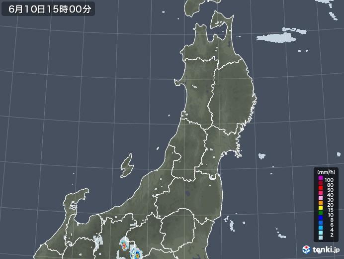 東北地方の雨雲レーダー(2020年06月10日)