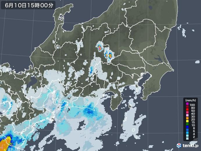 関東・甲信地方の雨雲レーダー(2020年06月10日)